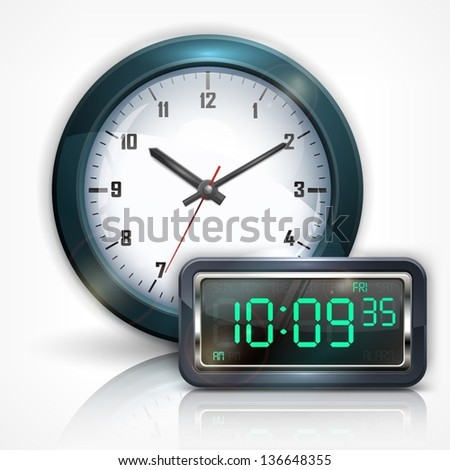 Wall clocks and electronic dial on white, vector illustration