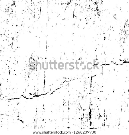 Wall fragment with scratches and cracks. Overlay grunge illustration over any design. Abstract grainy background with vintage effect #1268239900