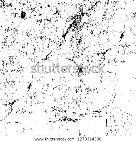 Wall fragment with scratches and cracks. Overlay grunge illustration over any design. Abstract grainy background with vintage effect #1270314538