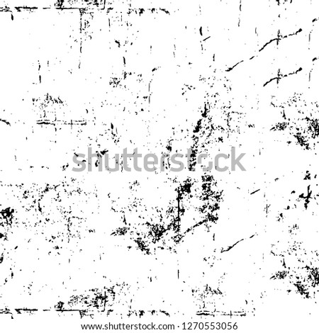 Wall fragment with scratches and cracks. Overlay grunge illustration over any design. Abstract grainy background with vintage effect #1270553056