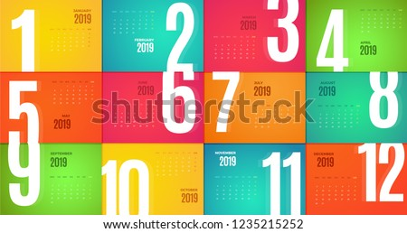 Wall Monthly 2019 Calendar. Vector horizontal template with different color pages.