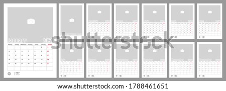 Wall Monthly Photo Calendar 2021. Corporate and business calendar. Simple monthly wall photo calendar Layout for 2021 in English. Cover and 12 monthes calendar templates. Monday week start. Vector