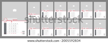 Wall Monthly Photo Calendar 2022. Simple monthly vertical photo calendar Layout for 2022 year in English. Cover Calendar, 12 months templates. Week starts from Monday. Vector illustration