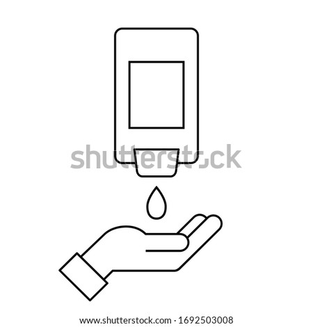 Wall-Mount hand sanitizer dispenser with a hand. Line icon. Automatic wall hanging liquid soap bottle. Washing and disinfecting hands. Antivirus and antibacterial protection. Vector illustration, flat