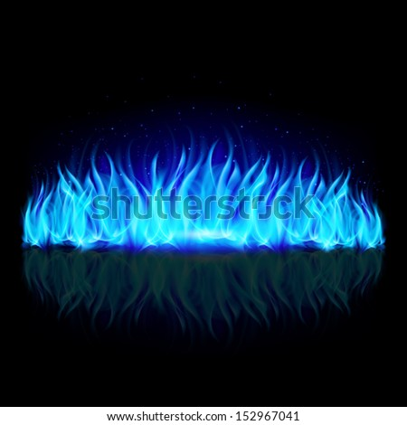 Wall of blue fire with weak reflection on black background.