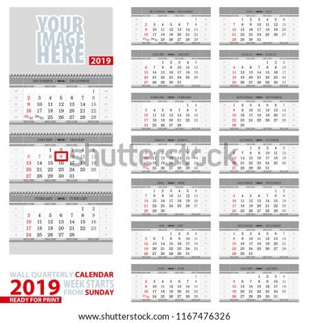 Wall quarterly calendar 2019. Week start from Sunday, ready for print. Vector Illustration.