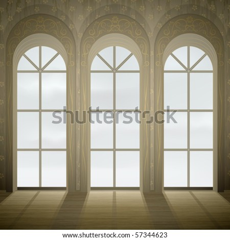 Wall with three tall gothic glass windows (stained glass version is in my gallery too)