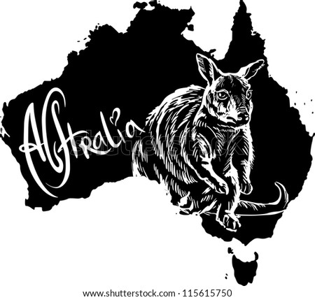 Wallaby on map of Australia. Black and white vector illustration.