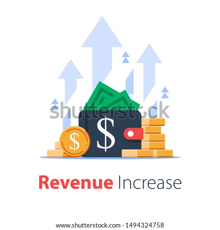 Wallet full of money, revenue increase, high interest rate, income growth, budget profit, financial fund growth, raise capital, investment portfolio, vector flat illustration