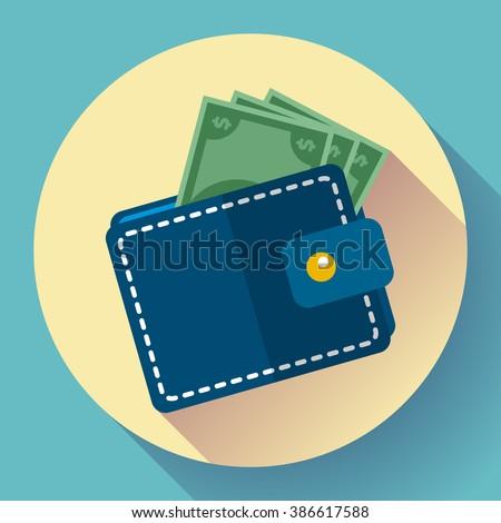Wallet icon vector Money Icon vector. wallet with money icon flat
