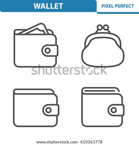 Wallet Icons. Professional, pixel perfect icons optimized for both large and small resolutions. EPS 8 format. 5x size for preview. Сток-фото ©