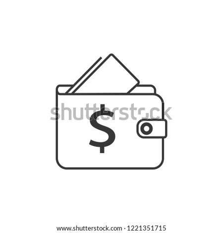 Wallet line icon. Affordability sign. Cash savings symbol. Quality design element. Classic style wallet. Editable stroke.