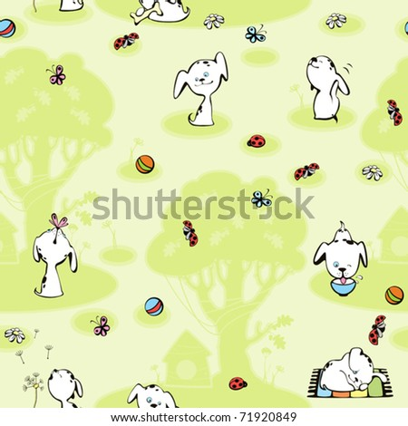 wallpaper Dalmatian puppies. green background with tree - stock vector