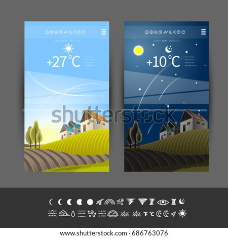 Wallpaper forecast for mobile app. Vector symbols for weather forecasting