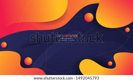 Abstract Geometric Dark Blue And Orange Cover And Wallpaper
