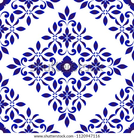 Wallpaper in baroque style Damask floral background, flower ornament, blue and white vases, simple decoration art, ceramic decorative tile pattern seamless vector, Chinese machine