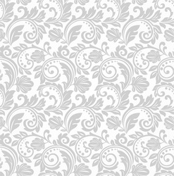 Wallpaper in the style of Baroque. A seamless vector background. Gray and white texture.