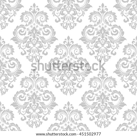 Wallpaper in the style of Baroque. A seamless vector background. Gray and white texture. Floral ornament. Graphic vector pattern.