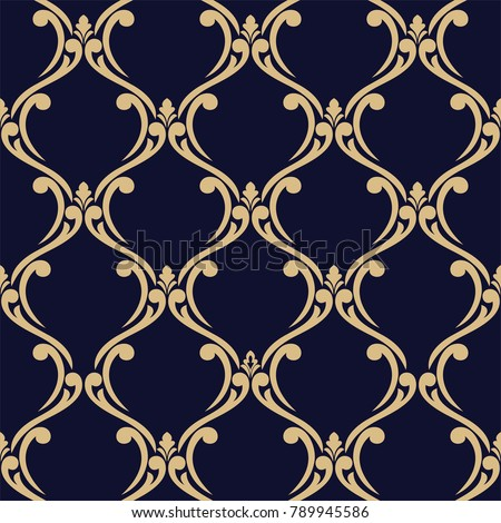 Wallpaper in the style of Baroque, damask. A seamless vector background. Gold and blue-black ornament