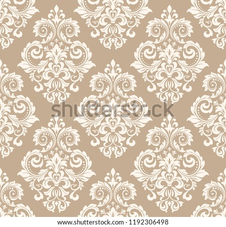 Wallpaper in the style of Baroque. Seamless vector background. White and beige floral ornament. Graphic pattern for fabric, wallpaper, packaging. Ornate Damask flower ornament