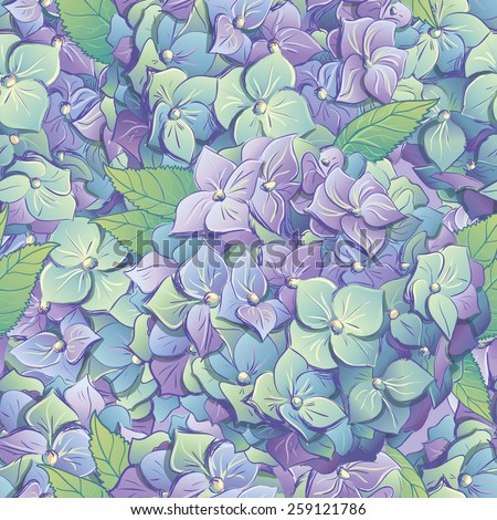 Wallpaper of flowers hydrangeas with leafs.   Vector illustration.