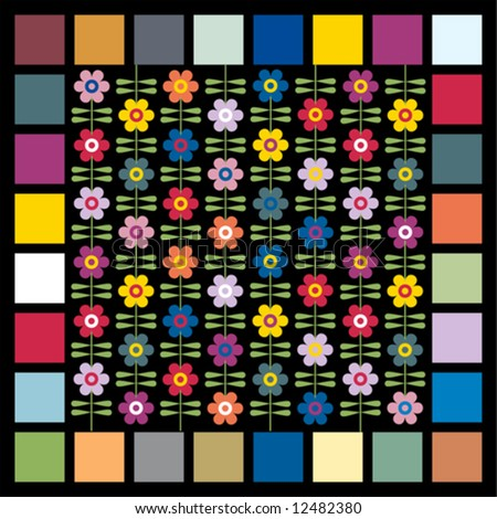 wallpaper of stylized flowers surrounded by squares: the colors are those forecast for womenswear for 2008 - 2010