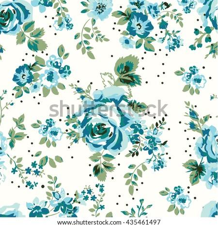 Wallpaper Seamless Vintage Blue Flower Pattern