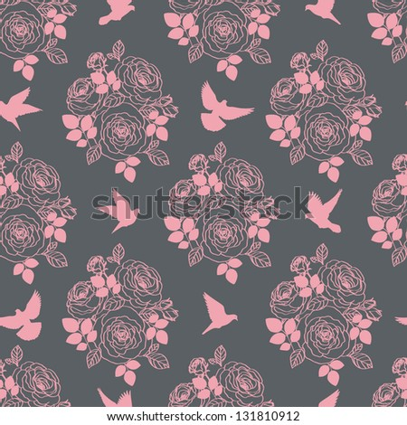 Wallpaper with birds and flowers