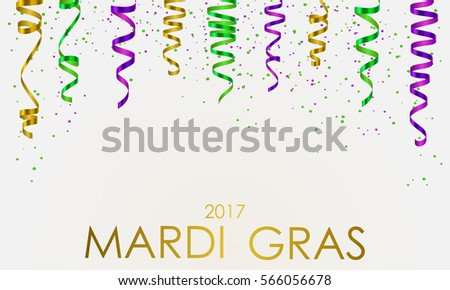 Wallpaper with green, yellow and violet serpentine, ribbon, dust confetti and golden lettering Mardi Gras, isolated on white background. Vector illustration.