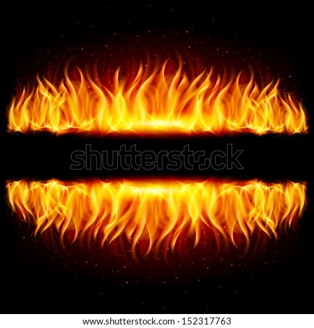 Walls of fire in mirror reflection with blank space between them. Illustration on black background.