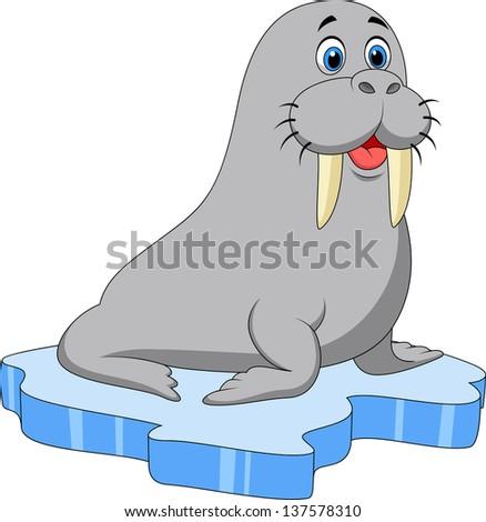 walrus cartoon on ice
