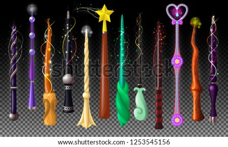 Wand vector magic stick miracle fantasy magician wizard object illustration magical set of fairytale symbol with star isolated on transparent background