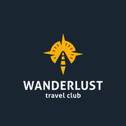 Wanderlust Original Conceptual Minimal Symbol with Memorable Visual Metaphor. Simple, Solid & Bold Mark executed in a Powerful & Well-designed Way. Represents the Concept of Travel & Adventures.
