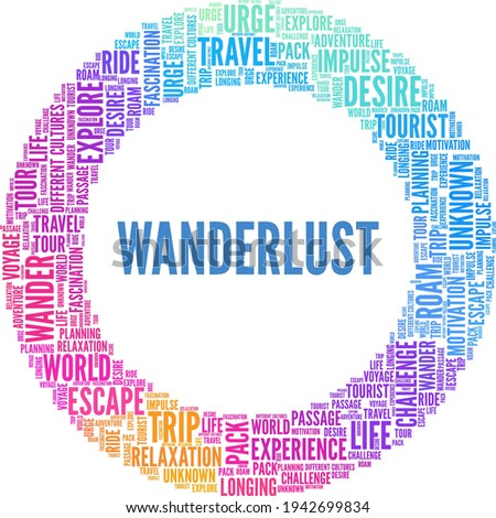 Wanderlust vector illustration word cloud isolated on a white background. ストックフォト ©