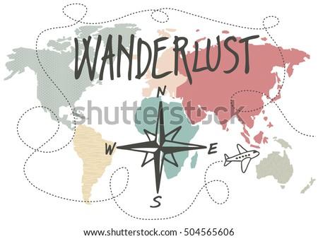 Wanderlust, vintage style vector illustration ストックフォト ©