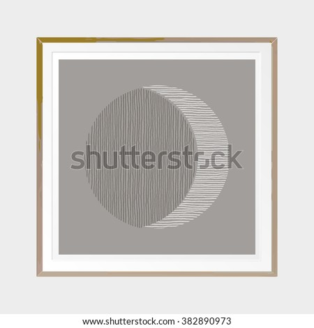 waning moon abstract poster