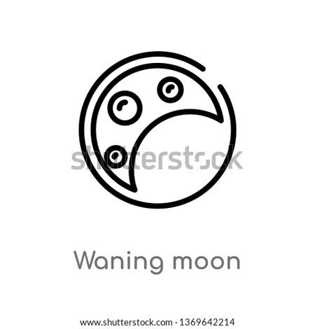 waning moon vector line icon