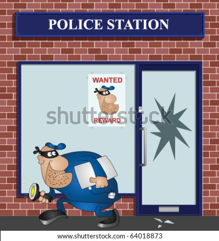Wanted burglar breaking into a police station