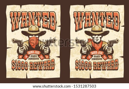 wanted cowboy poster with