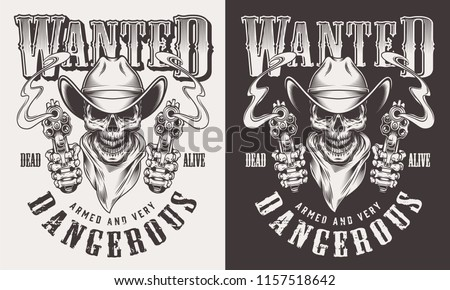 wanted cowboy print with skull