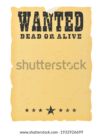 Wanted dead or alive placard blank template Foto d'archivio ©