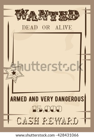 wanted poster template vector