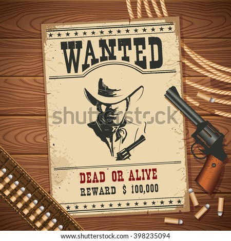 wanted poster with cowboy