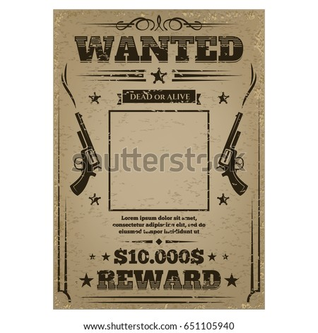wanted poster with rough
