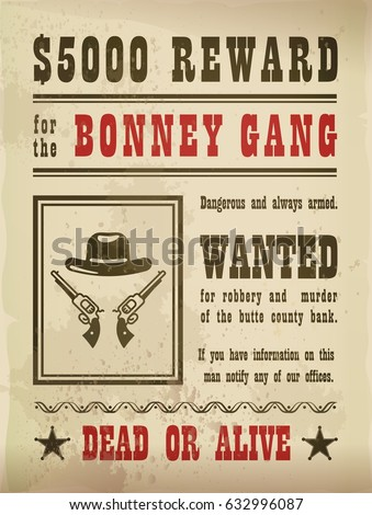 wanted sign with guns and hat