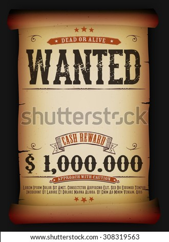wanted vintage poster on old