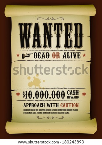wanted vintage poster on