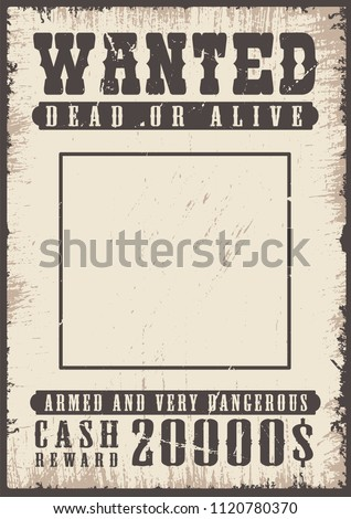 wanted vintage poster template