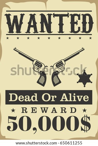 wanted wild western poster in