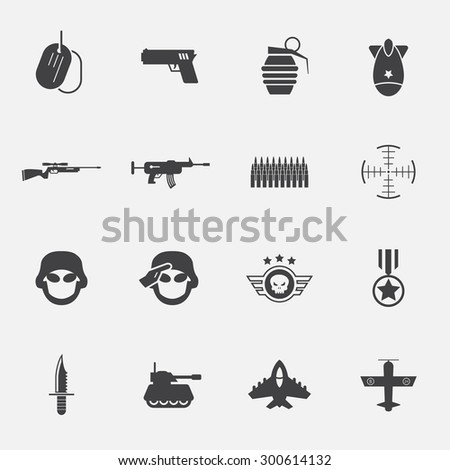 war and soldier icon set